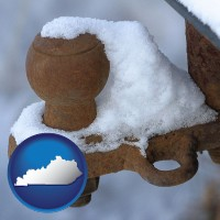 kentucky a rusty, snow-covered trailer hitch