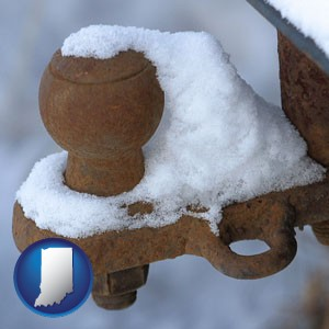 a rusty, snow-covered trailer hitch - with Indiana icon
